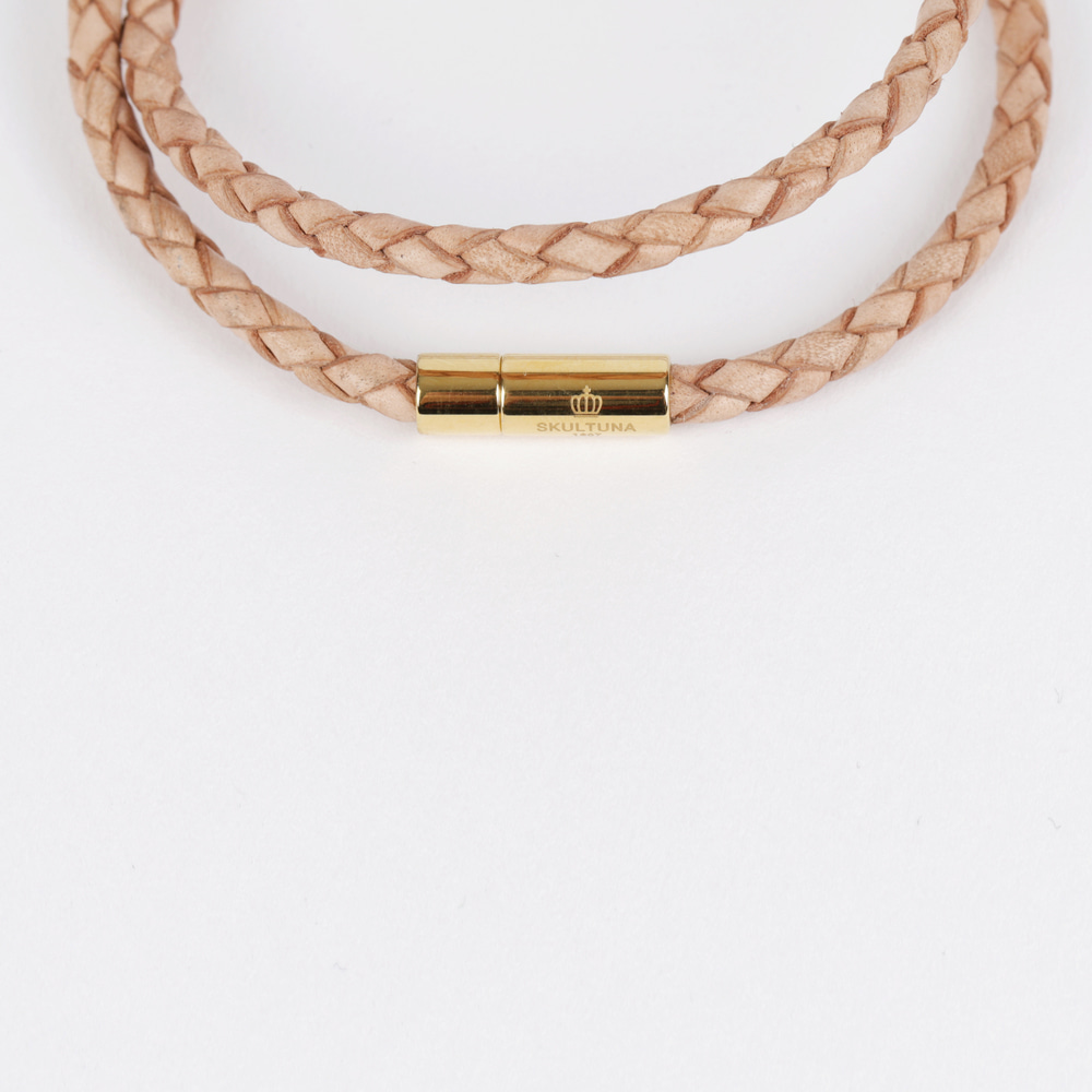 [스컬투나] Leather Bracelet 4mm - Natural (For Men)