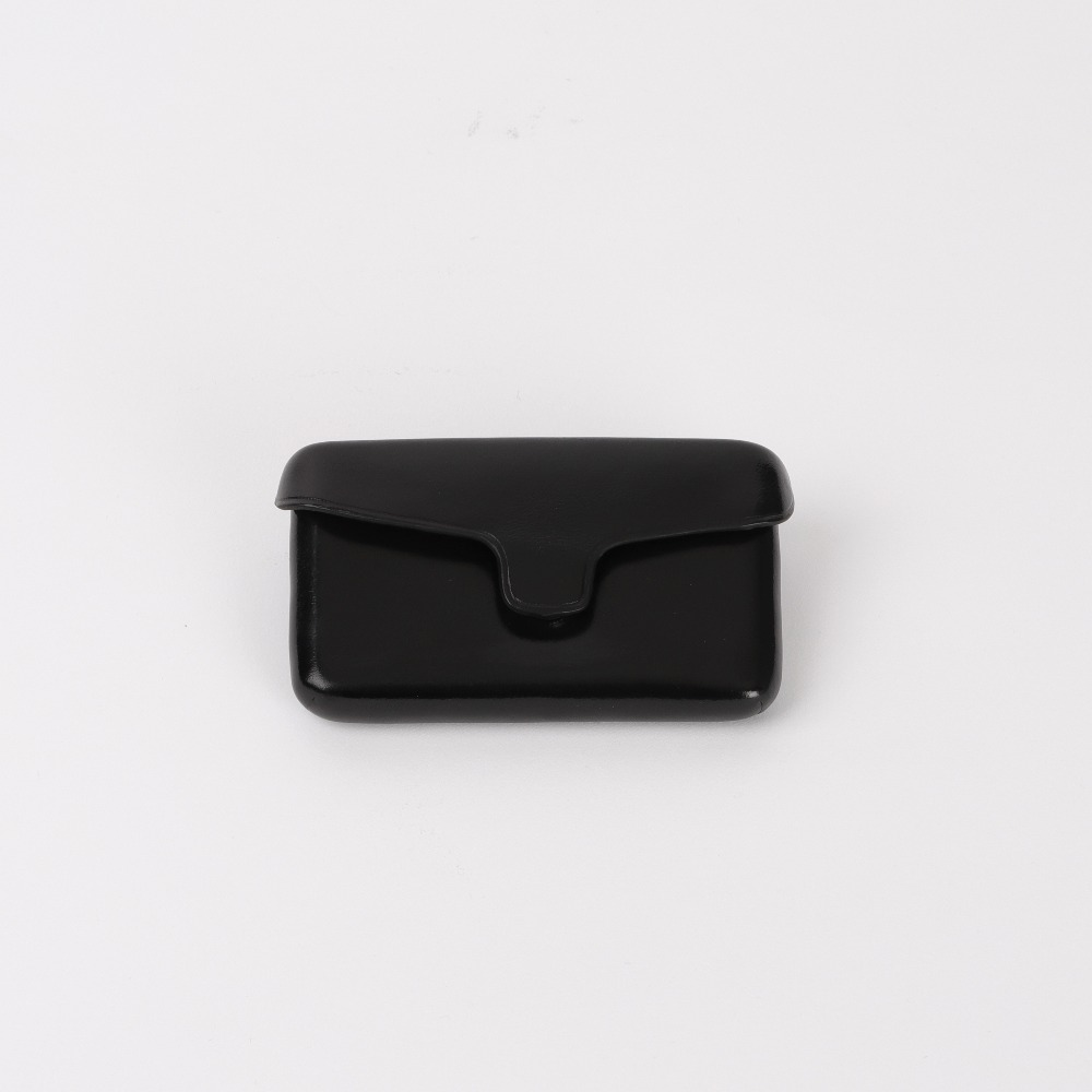[일부세토] Leather Card Holder With Magnetic — Black